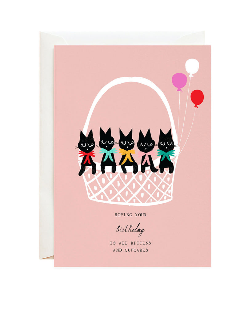 basket of kittens illustrated greeting card