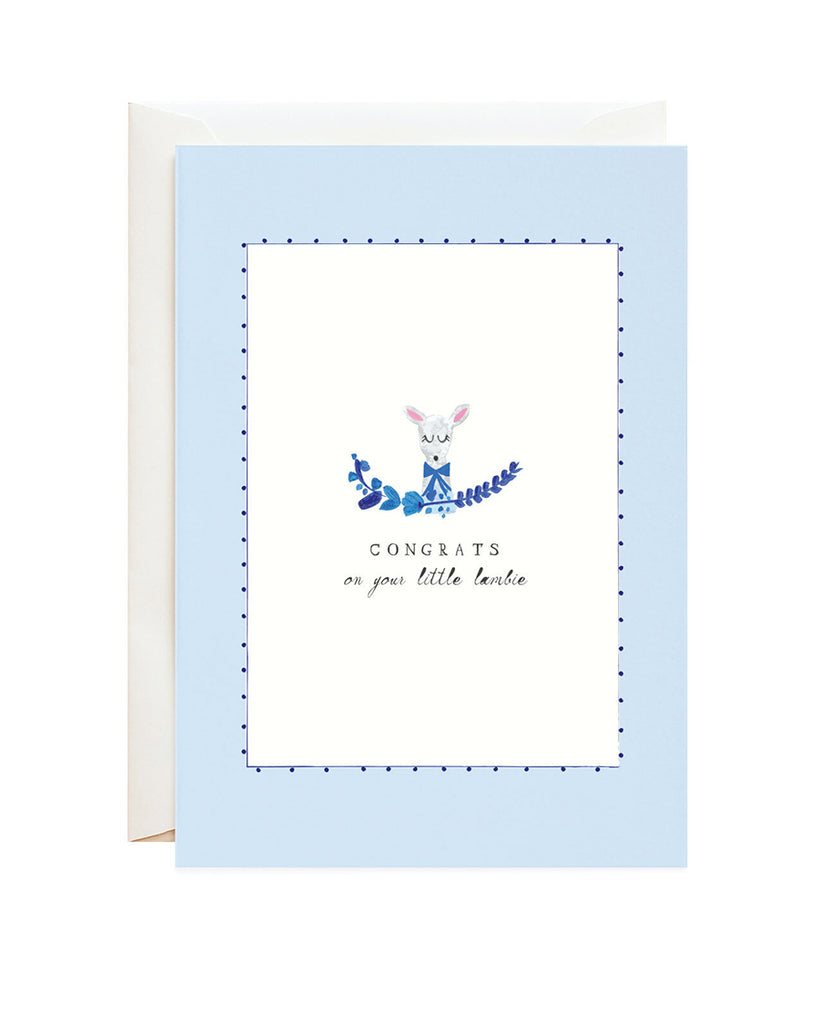 little lamb illustrated greeting card