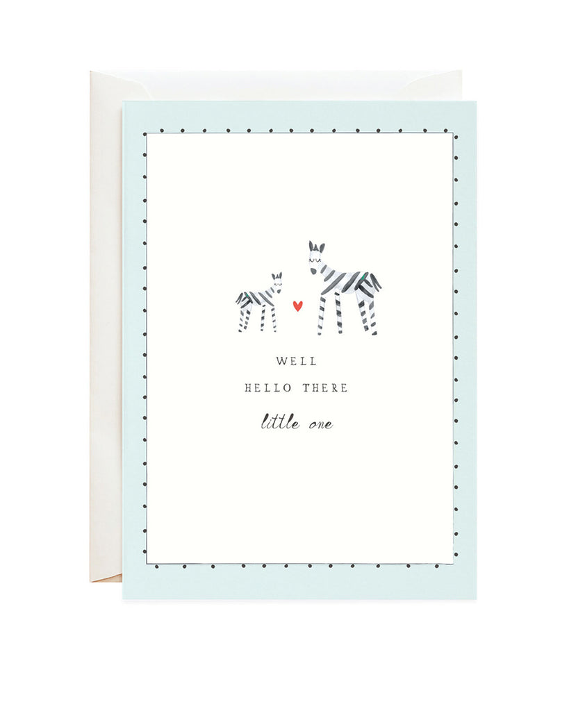zebra mom and baby illustration greeting card
