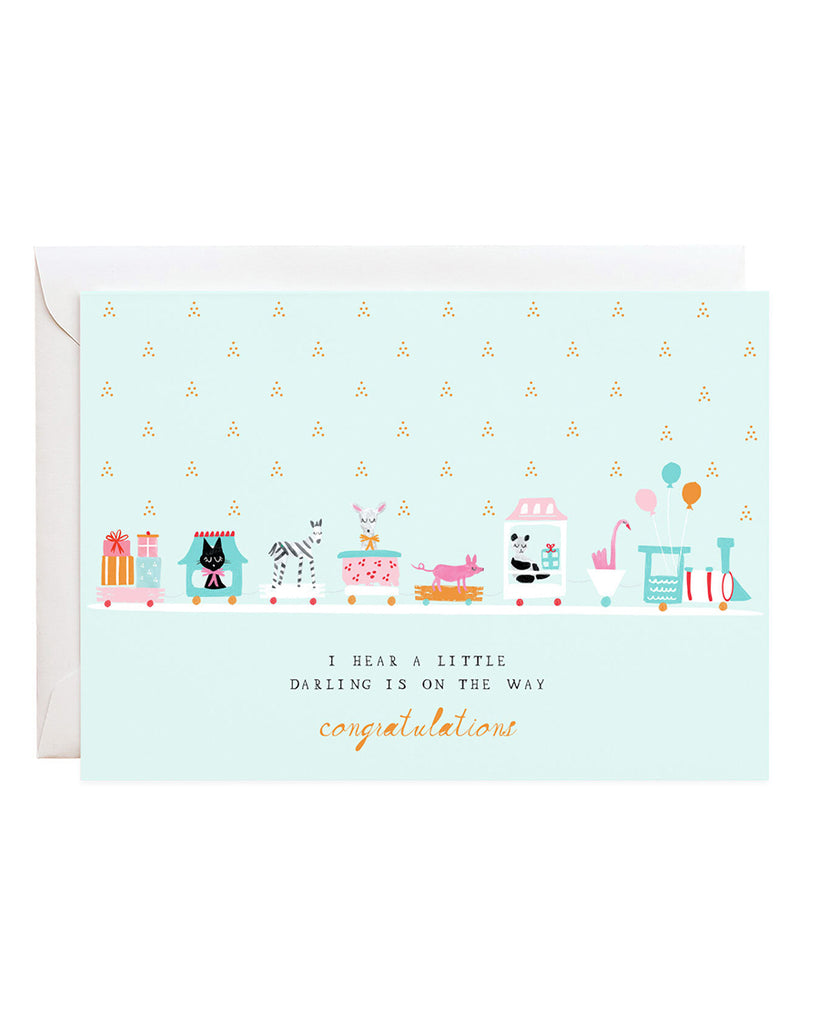 train of gifts illustrated congratulations card