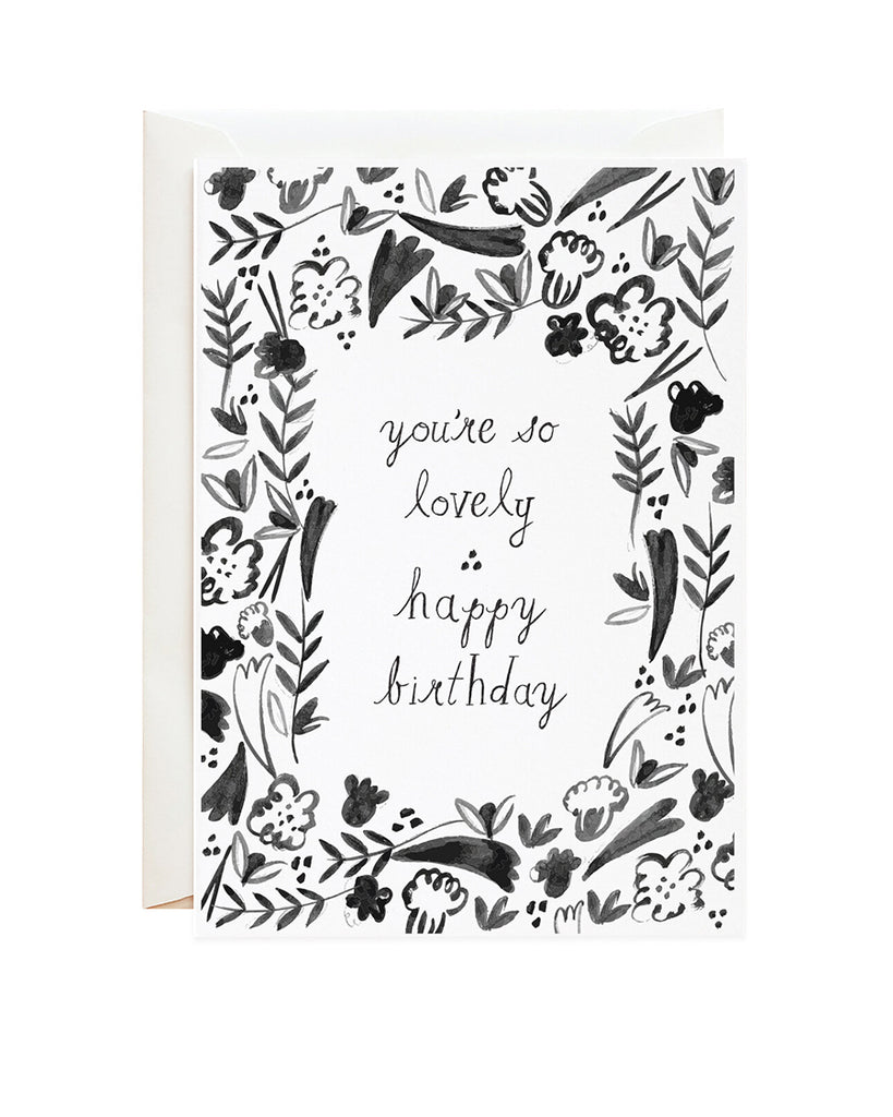 you're so lovely illustration birthday card