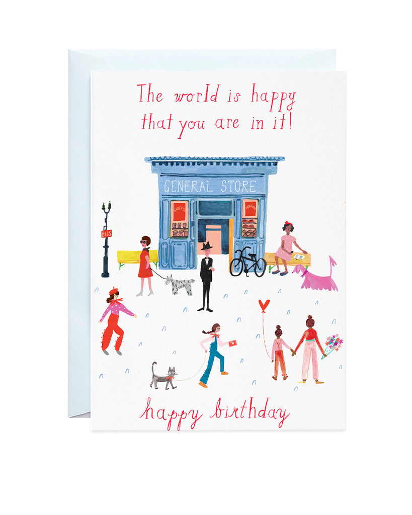 party on mainstreet illustrated greeting card