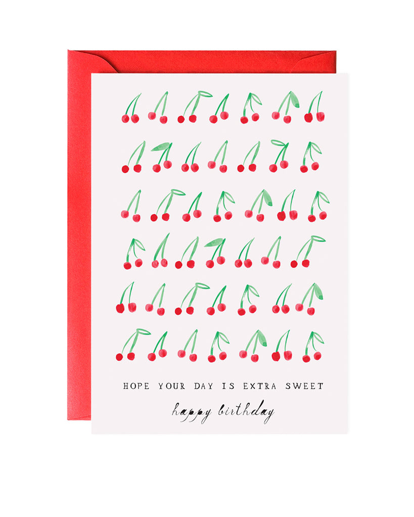 cherries illustrated birthday card