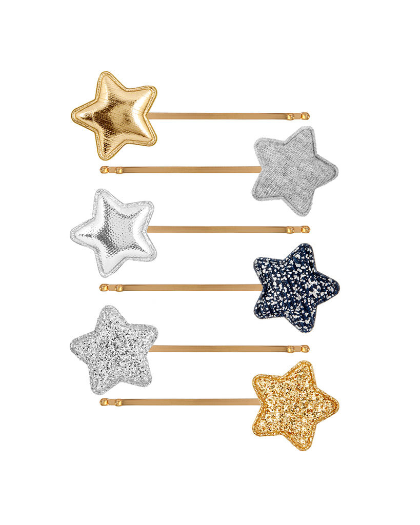 multi color star bobby pins set