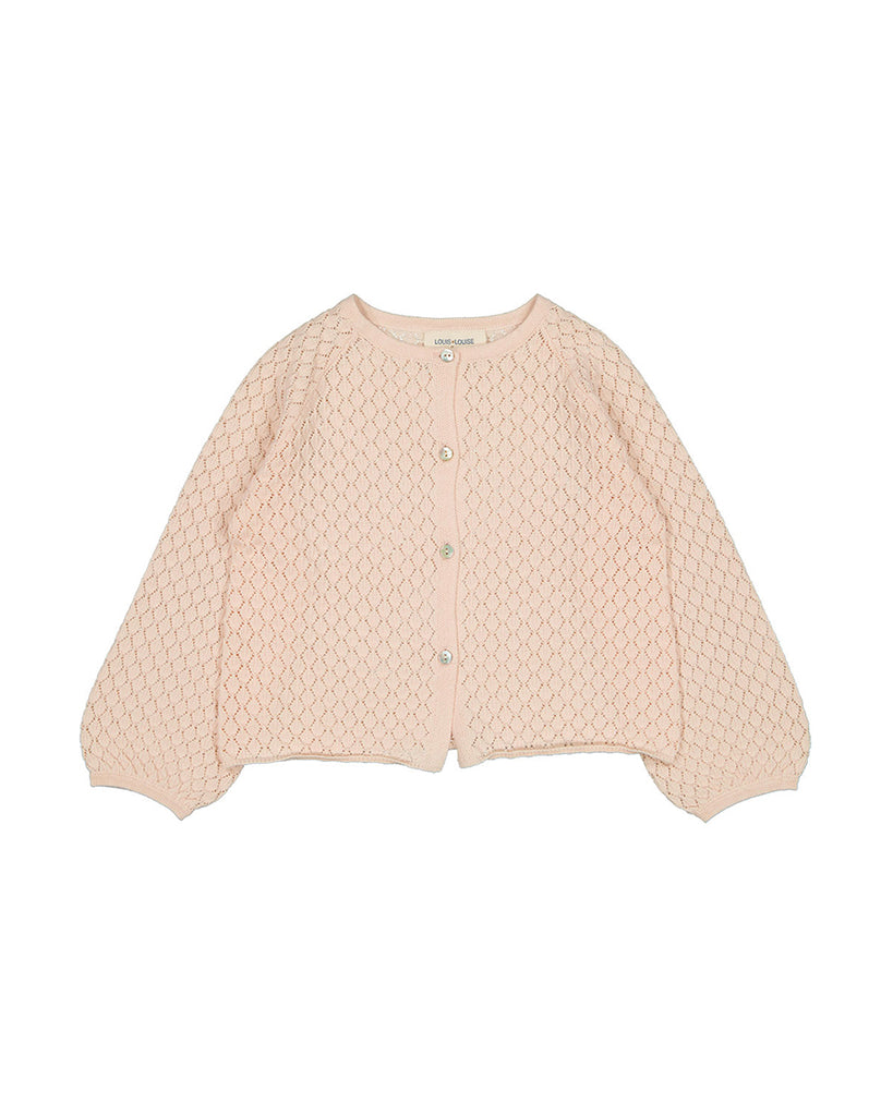 light pink wide sleeve button up cardigan