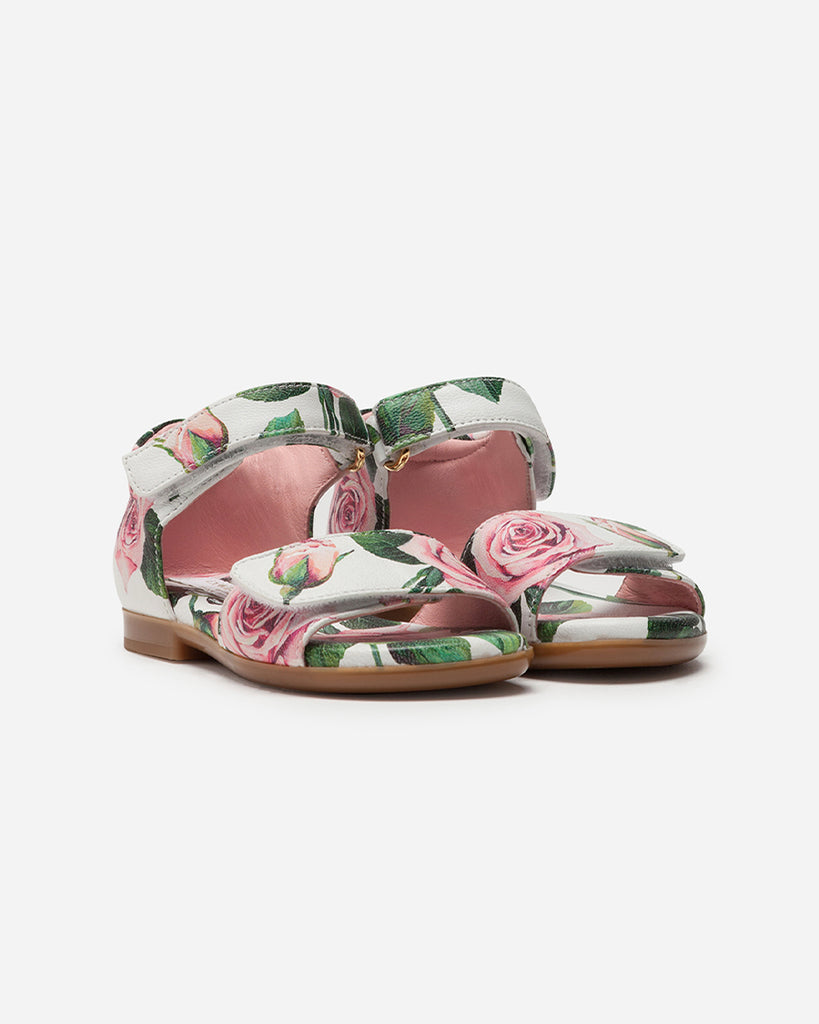 white leather velcro two strap sandals with floral print