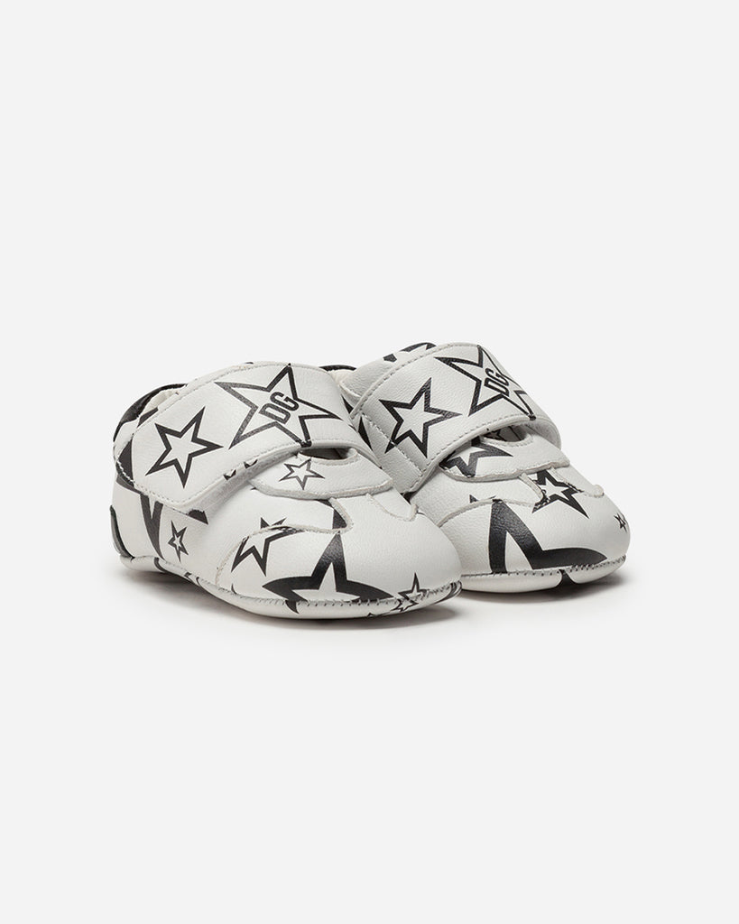 black and white star print baby sneakers