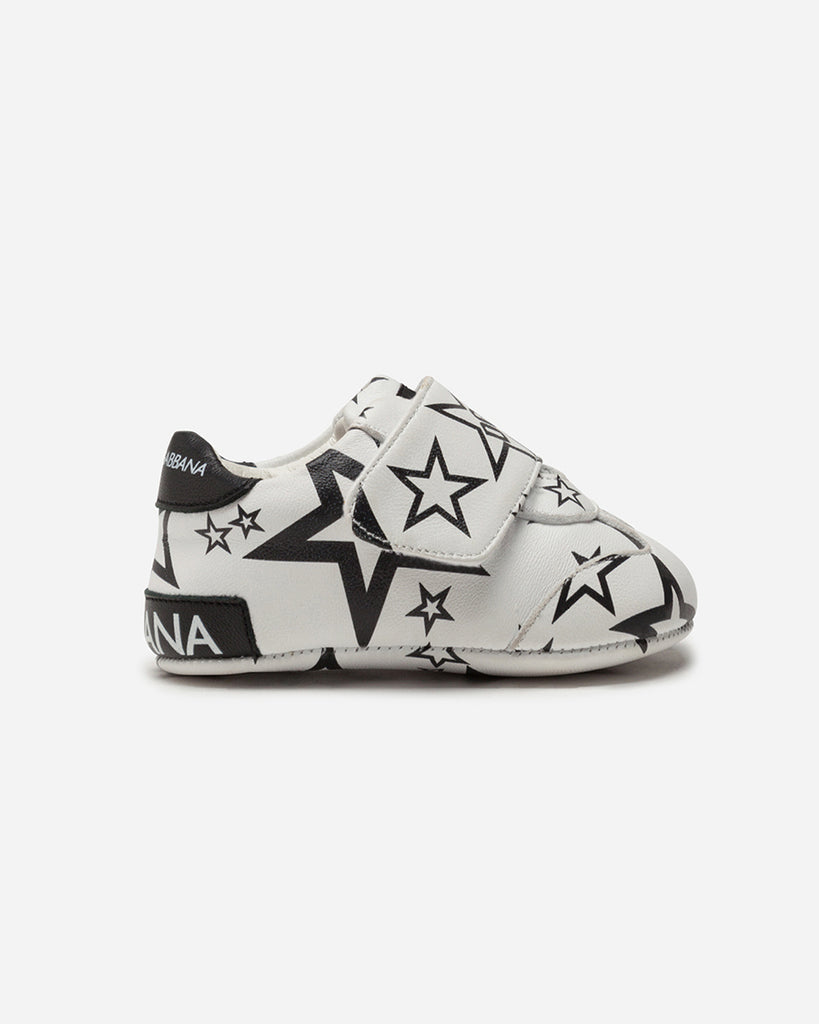 black and white star print baby sneakers side