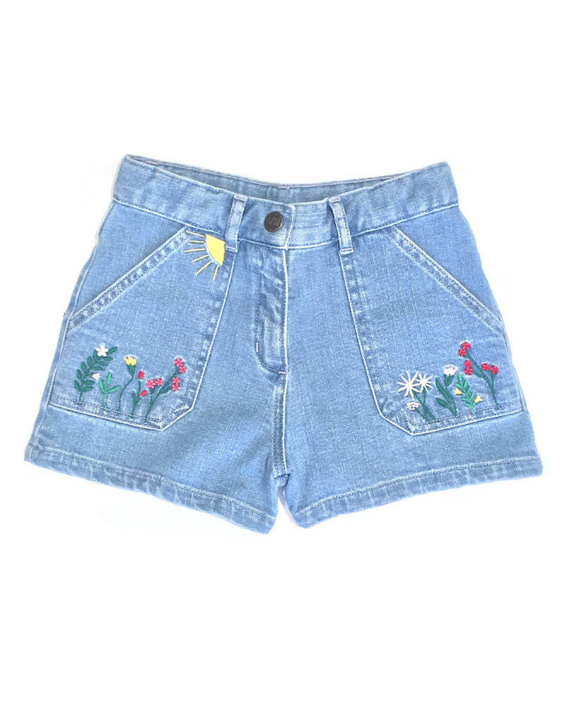 embroidered flowers detail denim shorts