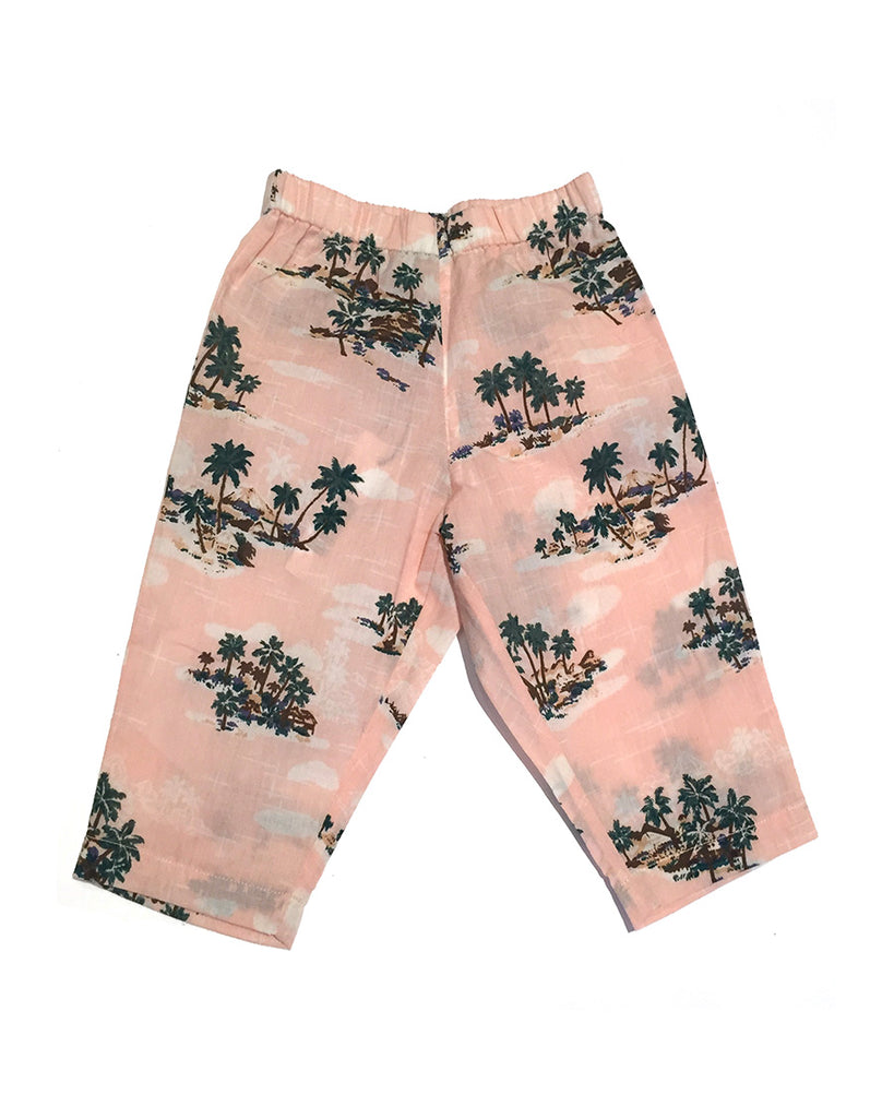 pale pink palm trees print pants