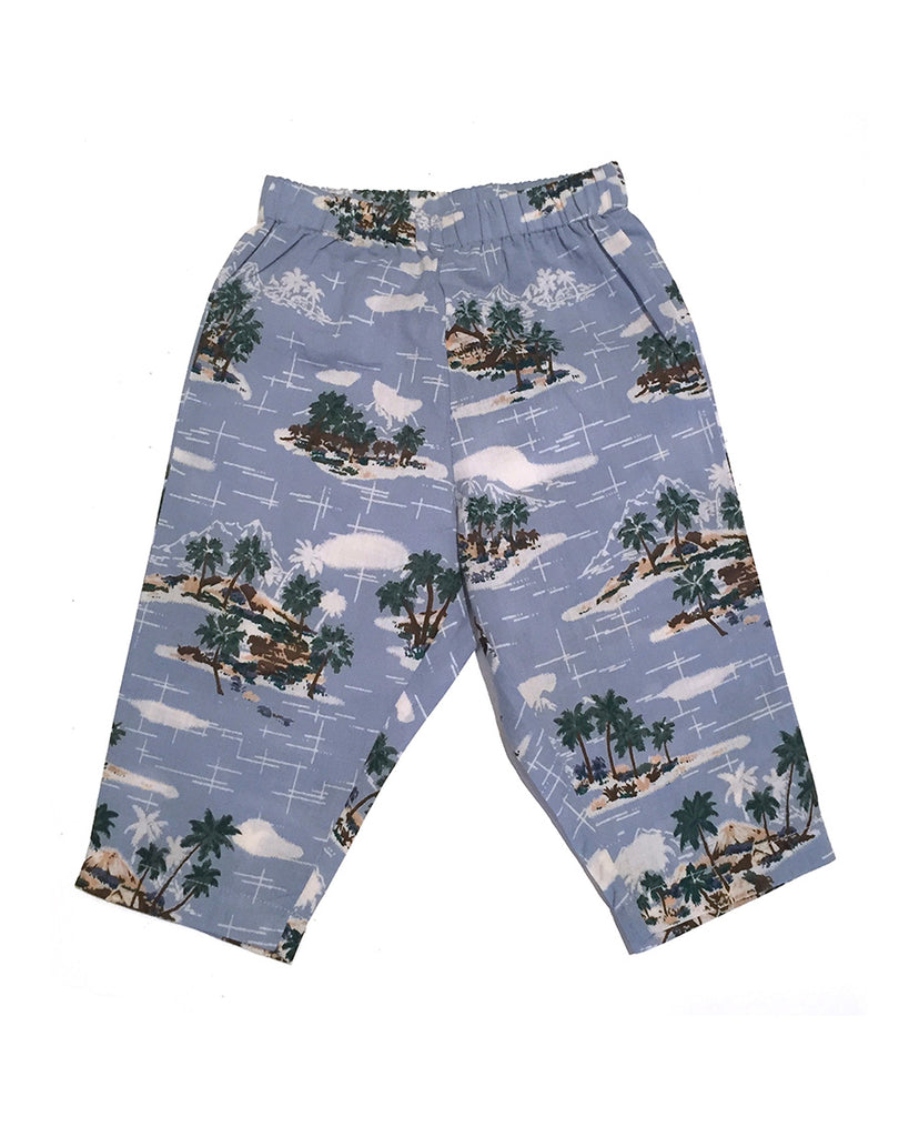 vintage blue palm trees printed pants