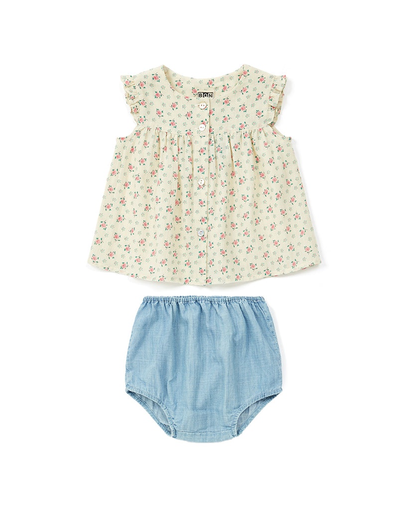 cream ditsy floral print blouse and chambray bloomer set