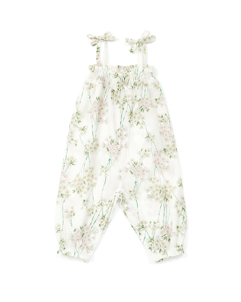 white shoulder tie floral jumpsuit