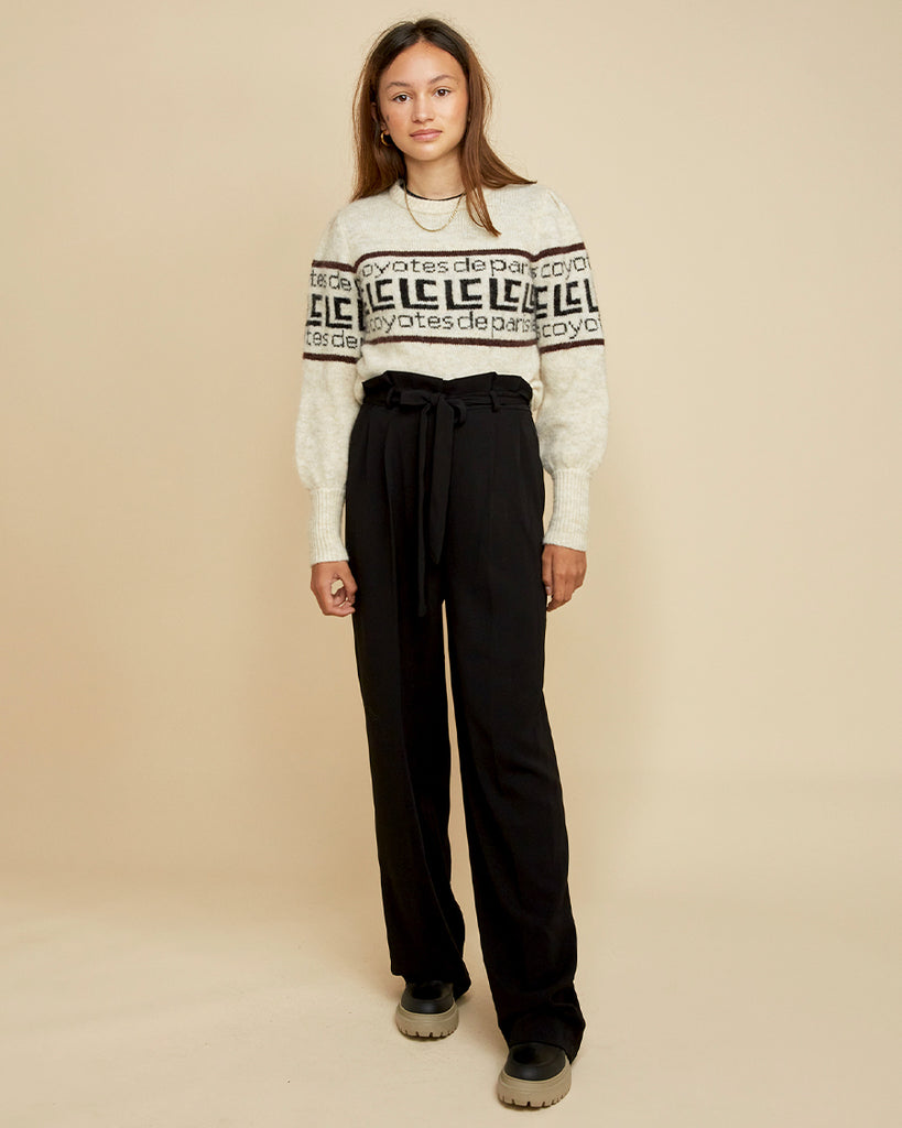 black paperbag trousers with belt