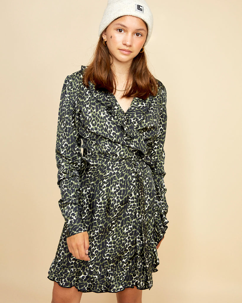 Long sleeve leopard frill wrap dress