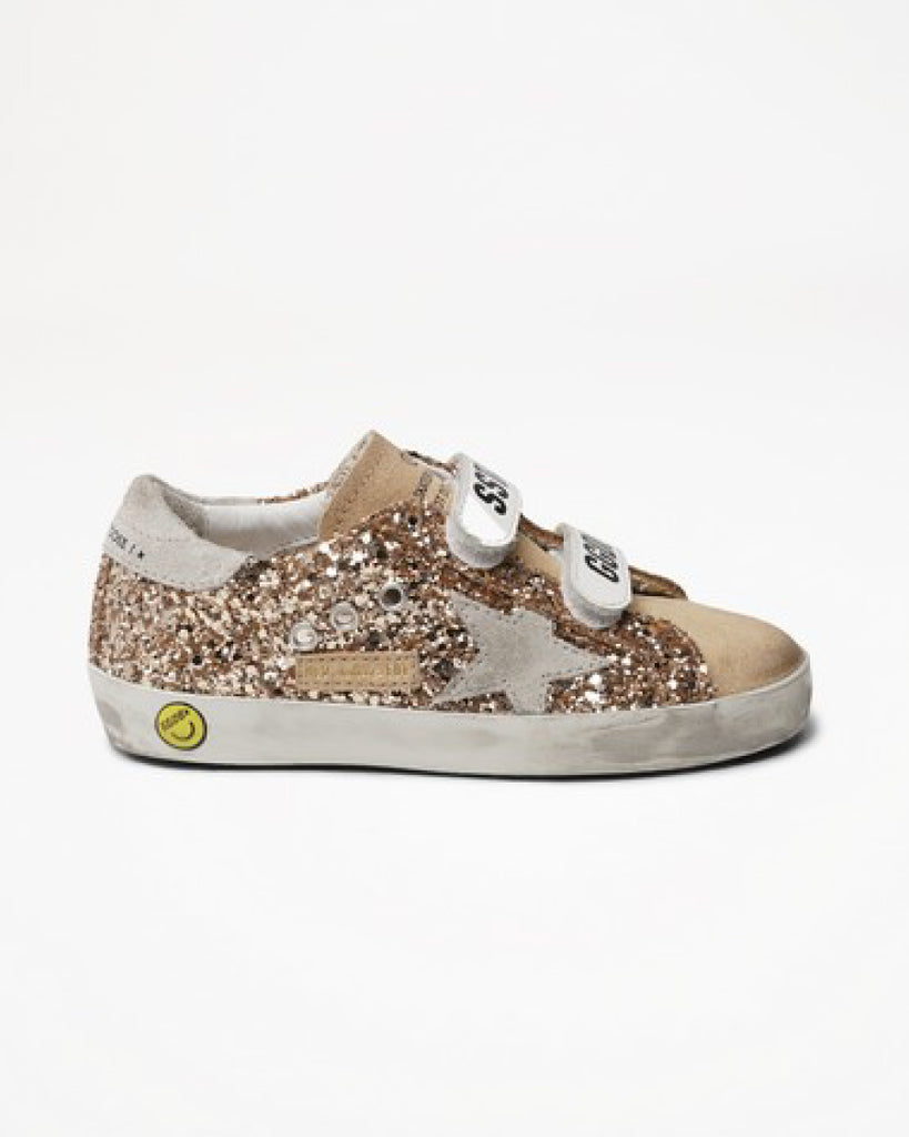 gold glitter velcro old school sneakers