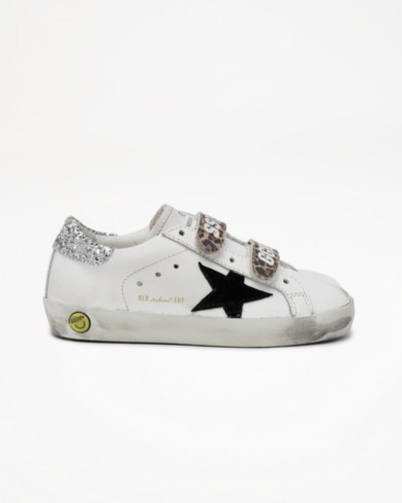 Old School Sneakers (UK19-27) - White/Black/Beige Brown Leo/Silver