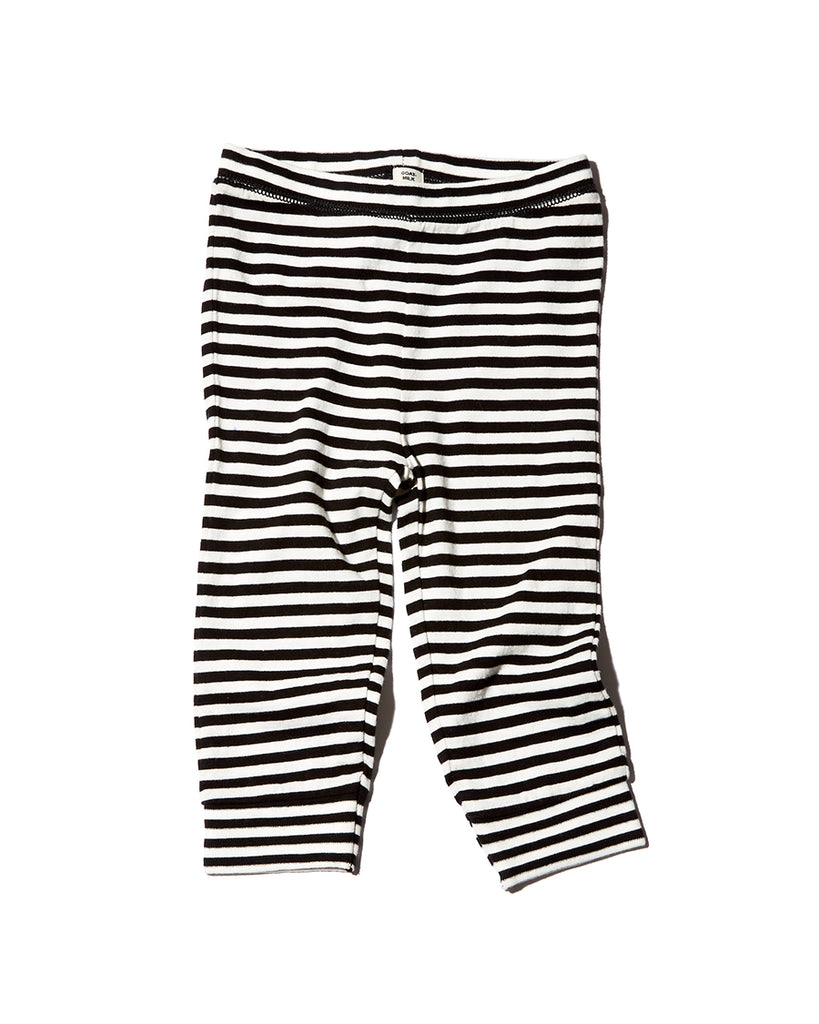Black and white striped thermal leggings