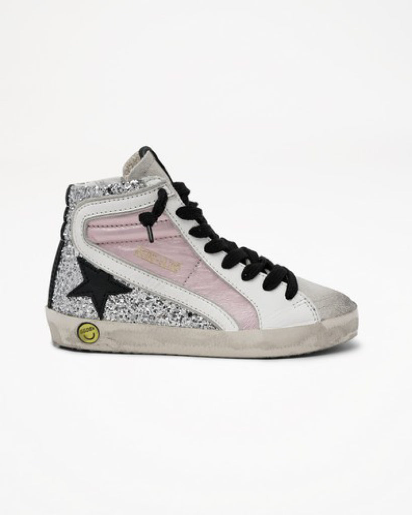 pink silver black white mix high top lace up sneakers