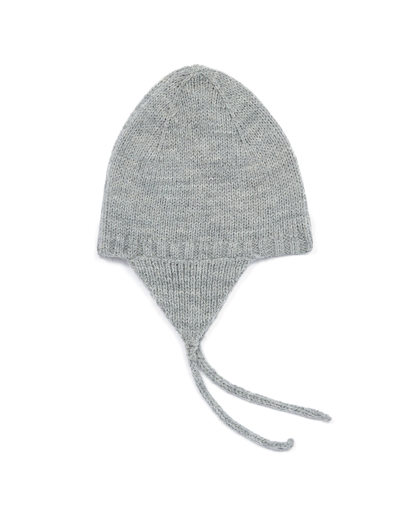 light grey knit beanie with ear flaps