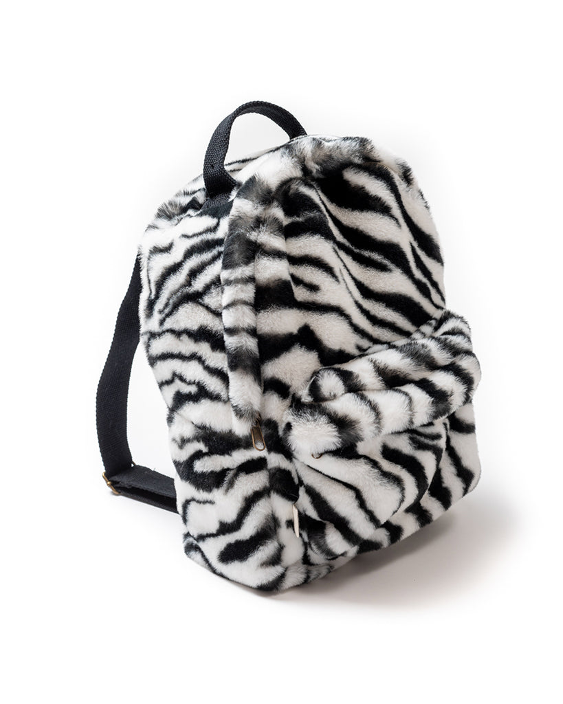 Mini faux fur zebra print backpack
