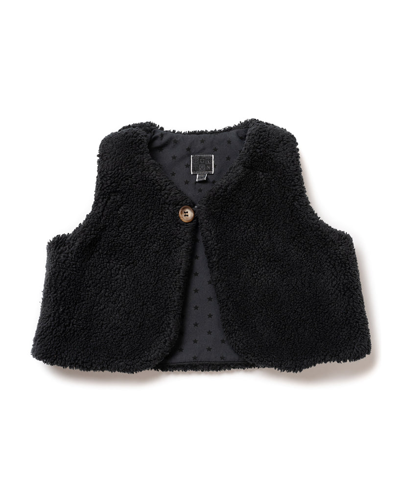charcoal teddy fur vest with button