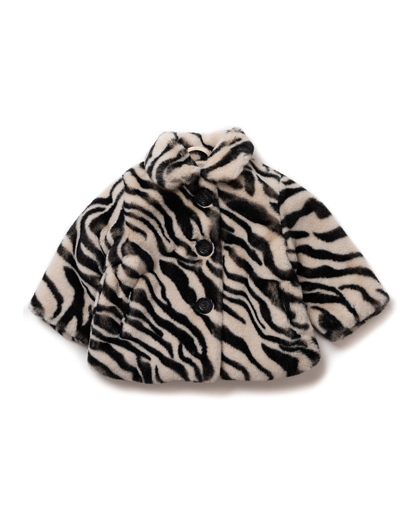 Zebra Faux Fur Jacket - Ecru/Black