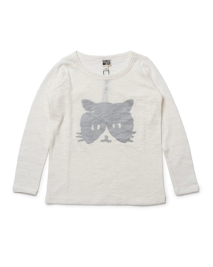 off white long sleeve slub tee with cat print