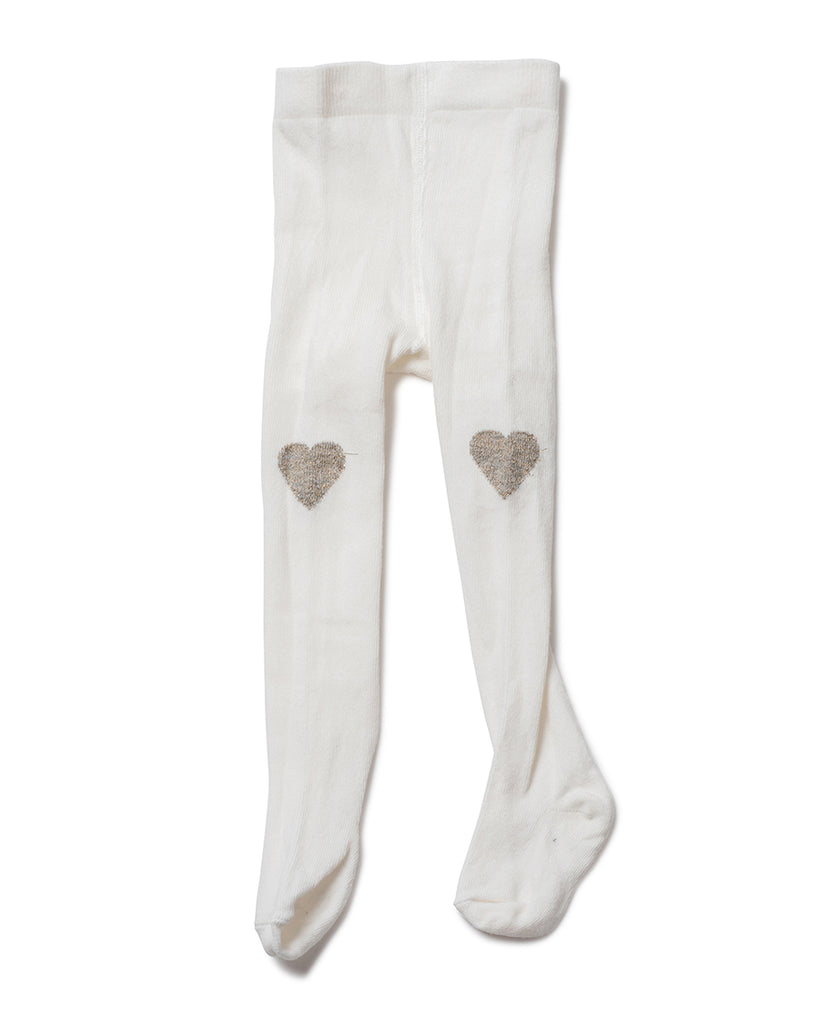 off white Hearts on Knee Tights