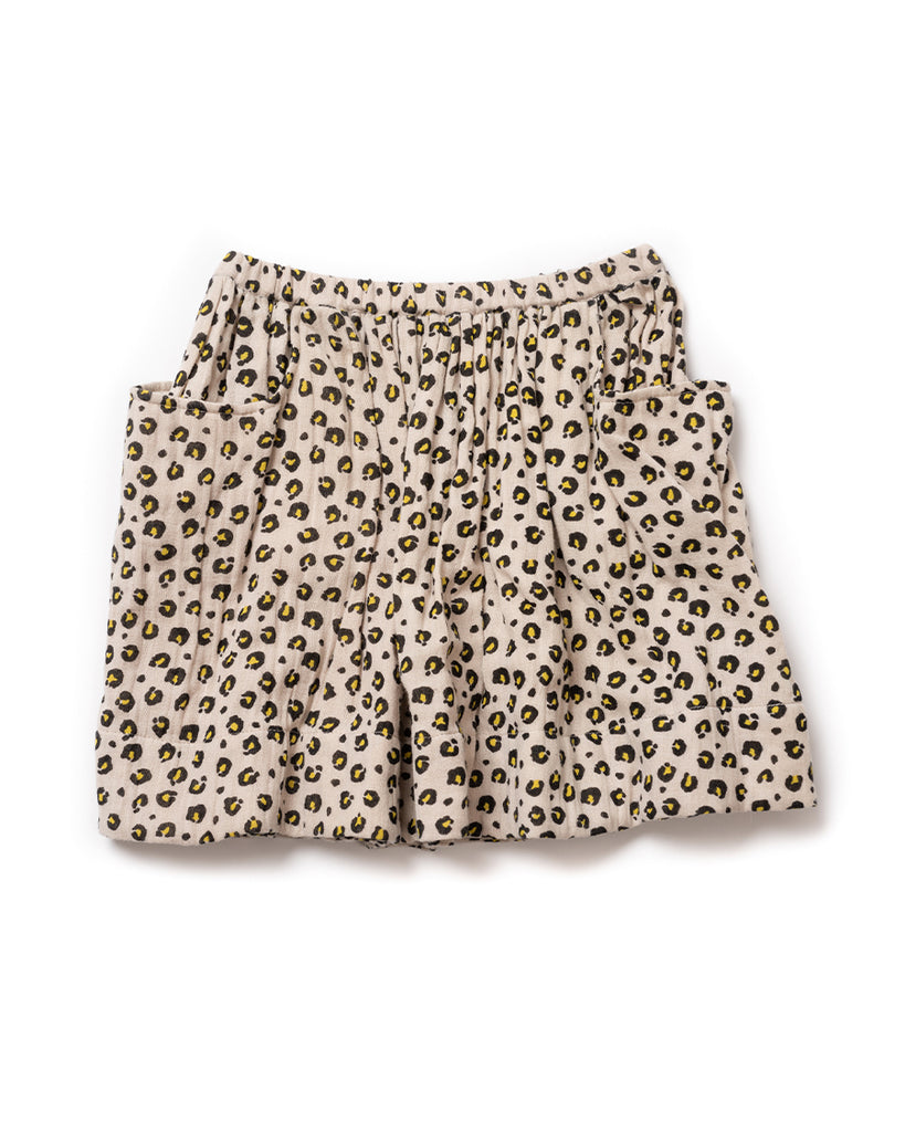 leopard print skirt with two pockets