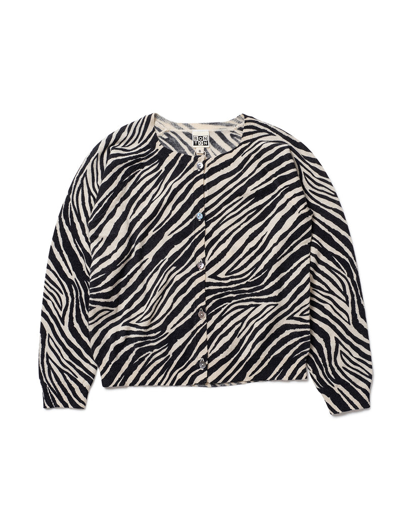 zebra print button up cardigan