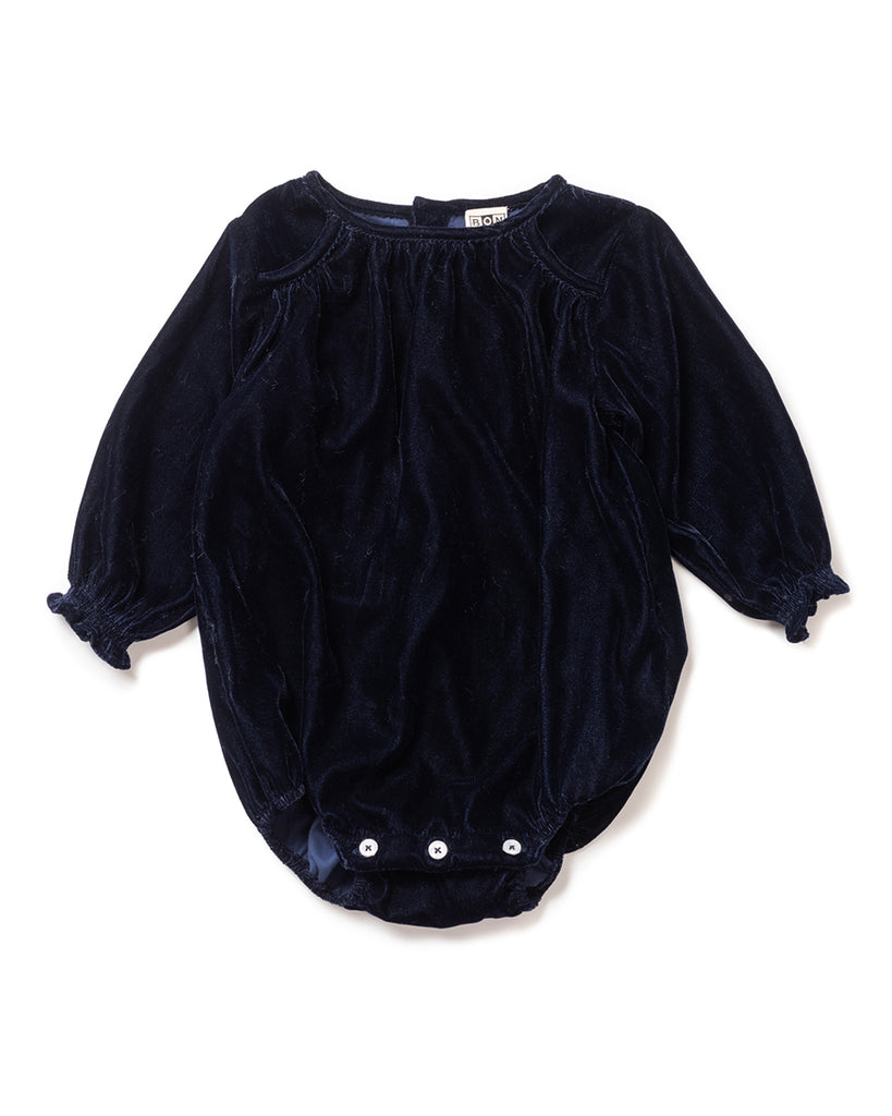 navy blue long sleeve velvet onesie