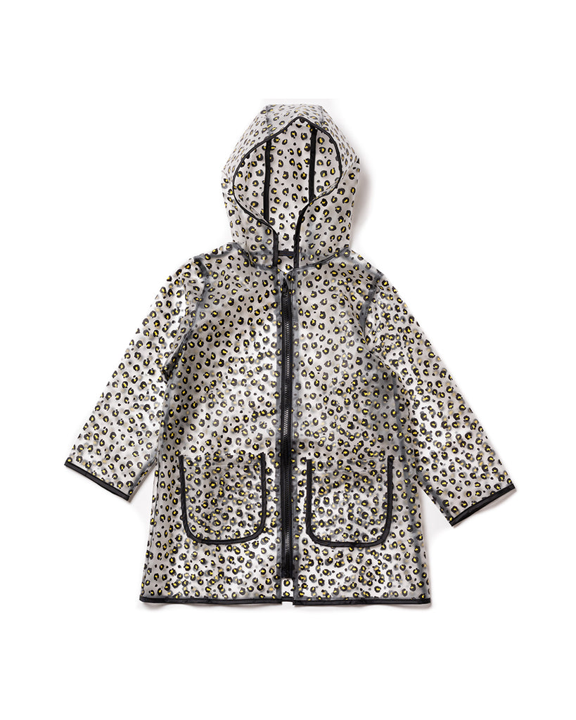 translucent leopard print raincoat