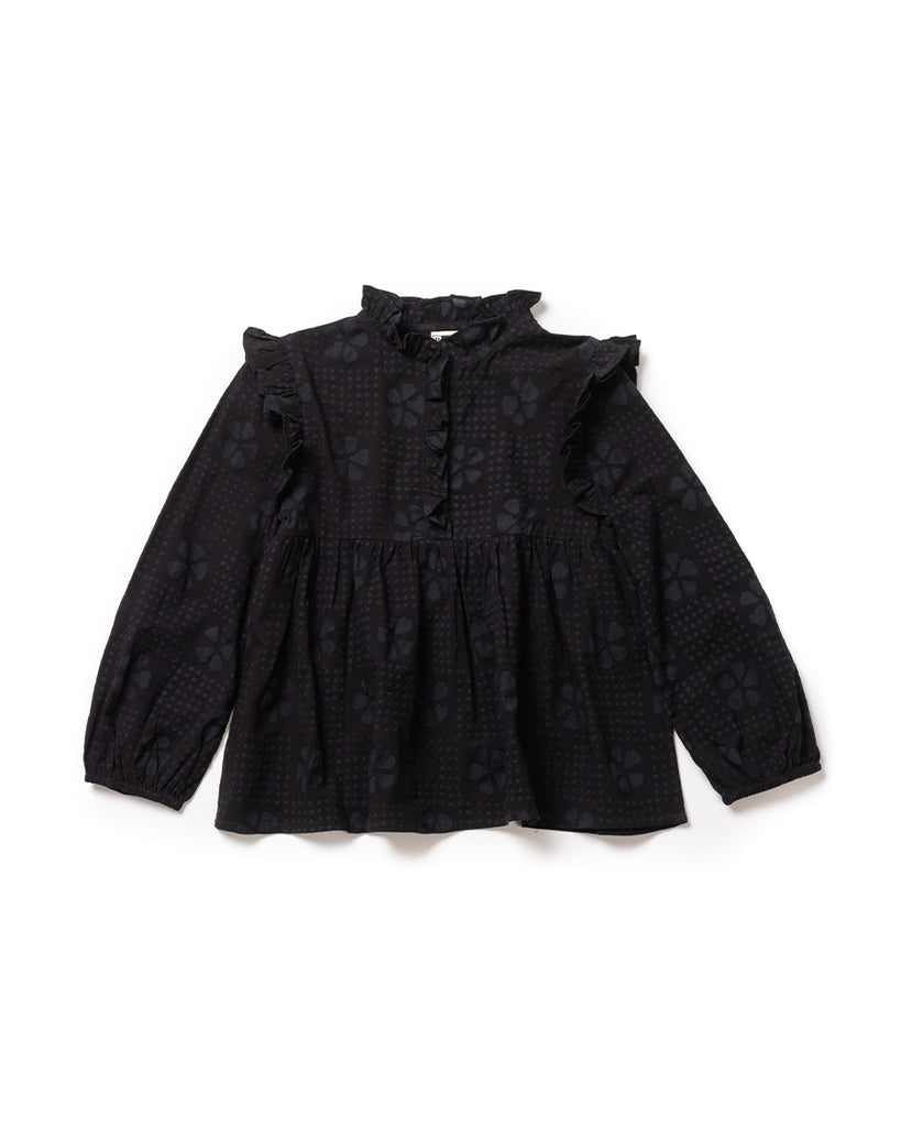 Navy blue long sleeve frill blouse