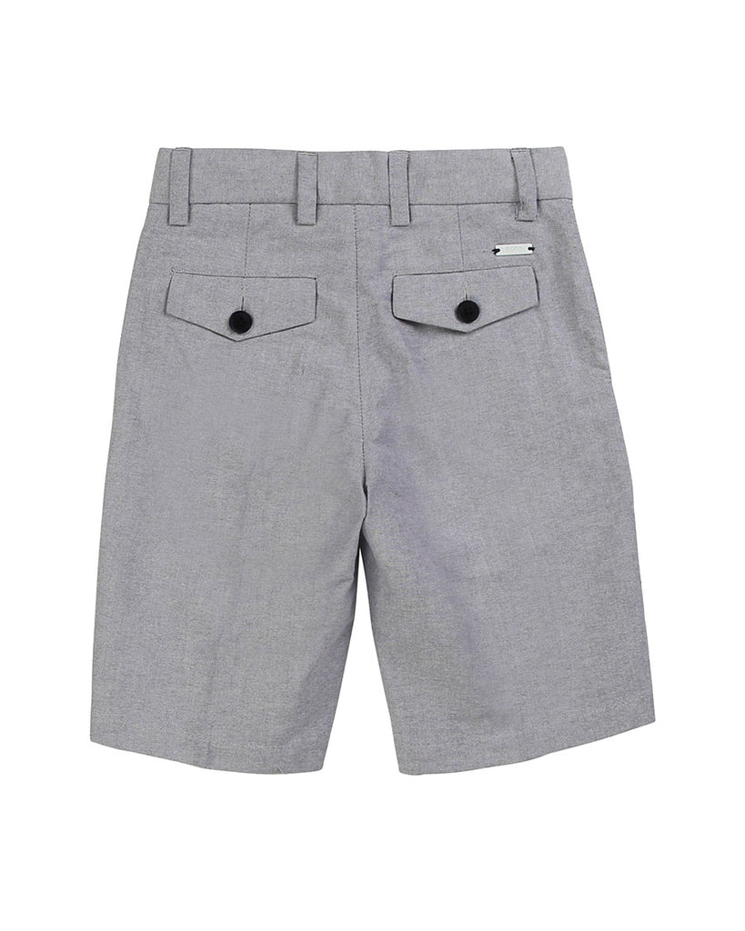 grey suit shorts back