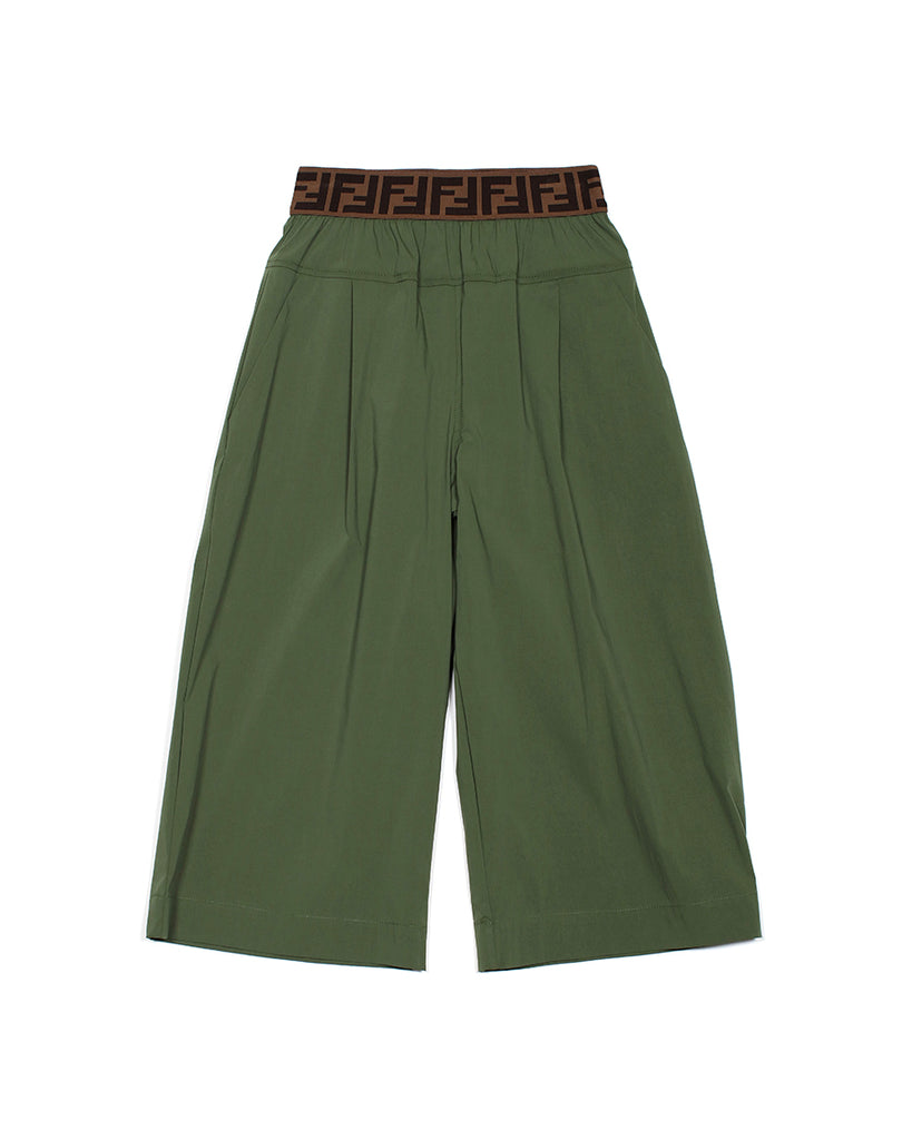Green Wide Leg Pants with Logo Waistband