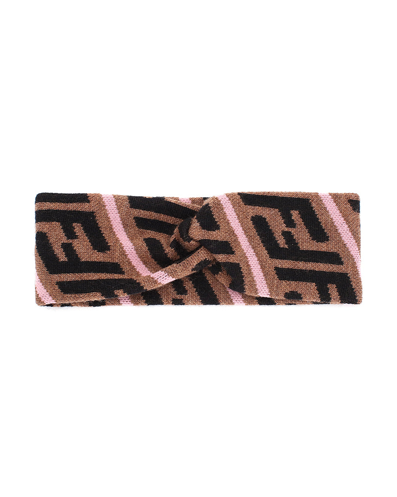 camel logo knit headband with pink stripes