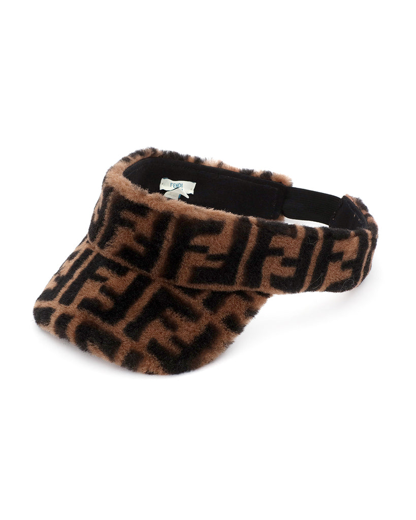 Brown Faux Fur Visor with All Over Logo Print