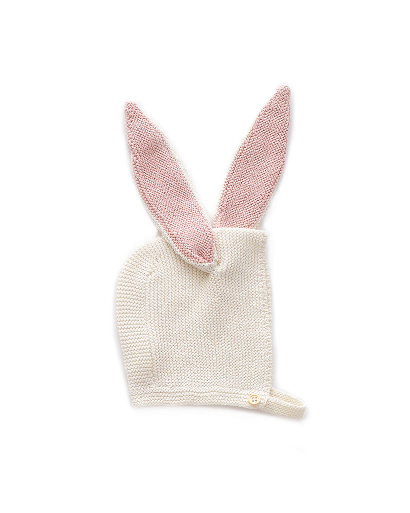 white knit bonnet with bunny ears