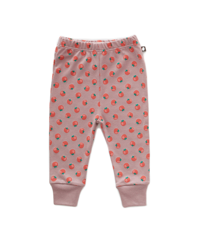 mauve leggings with tomato pattern