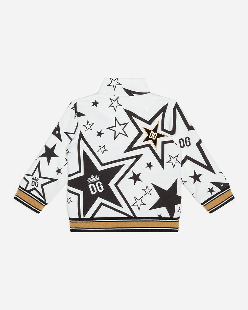 black and white star print zip up bomber sweater back