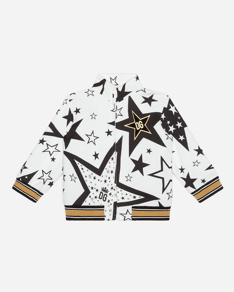 black and white star print zip up bomber sweater