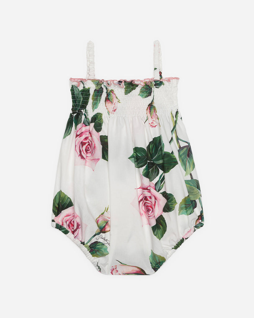 white tank poplin romper with pink roses back