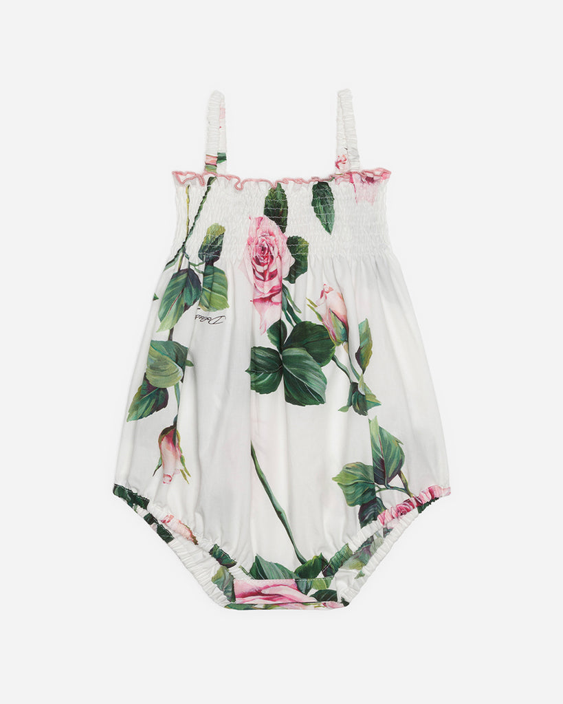 white tank poplin romper with pink roses