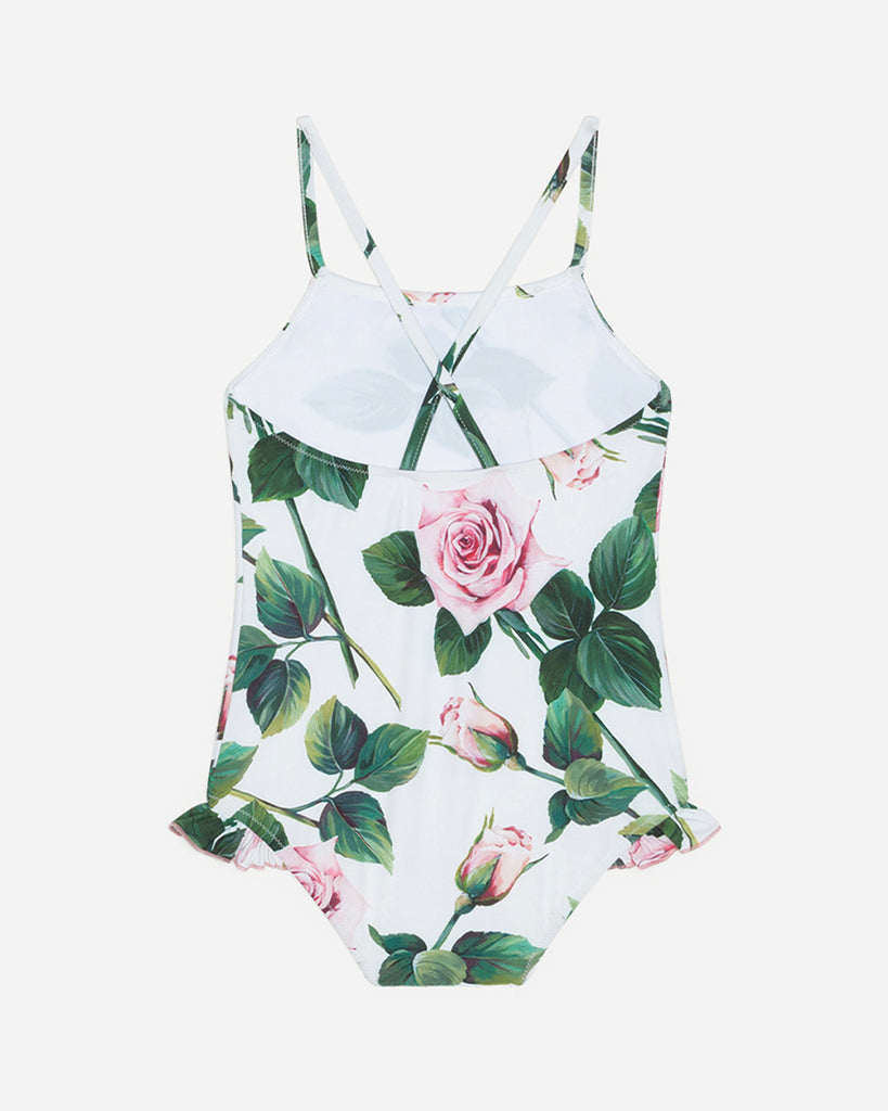 white crossback swimsuit with pink roses back