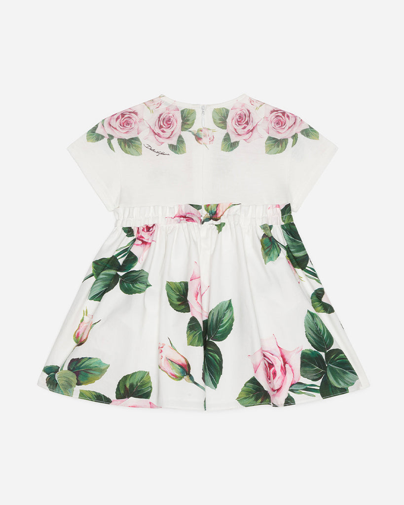 white floral short sleeve dress with bloomer back