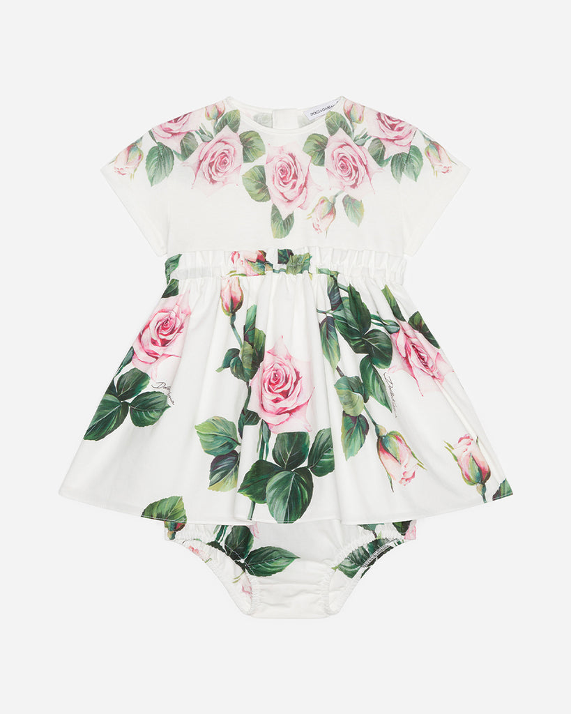 white floral short sleeve dress with bloomer