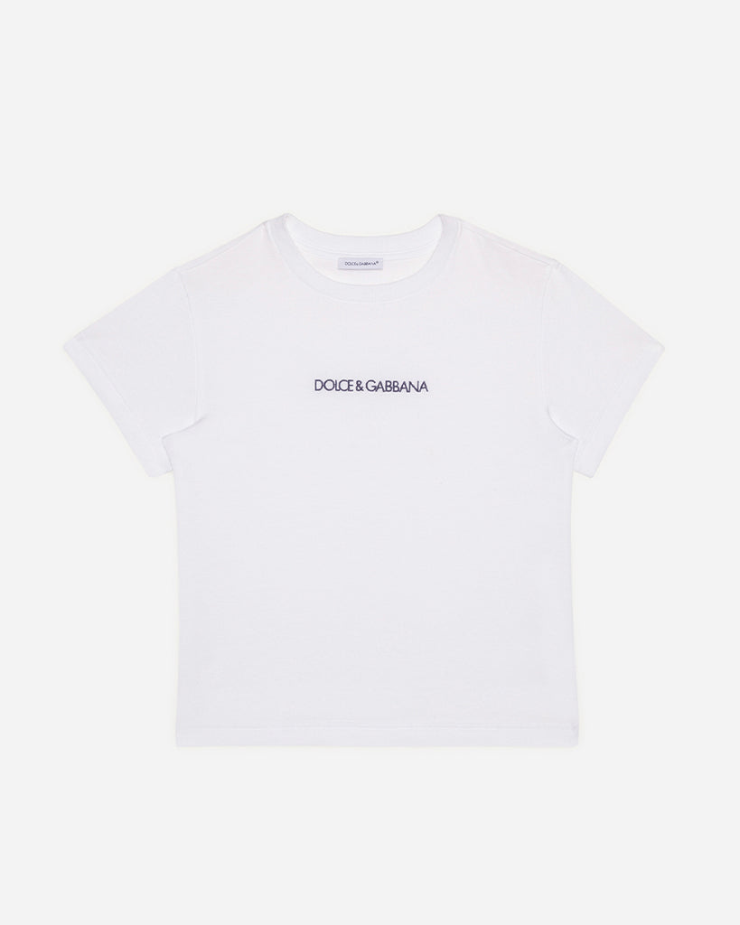 white embroidered logo t-shirt