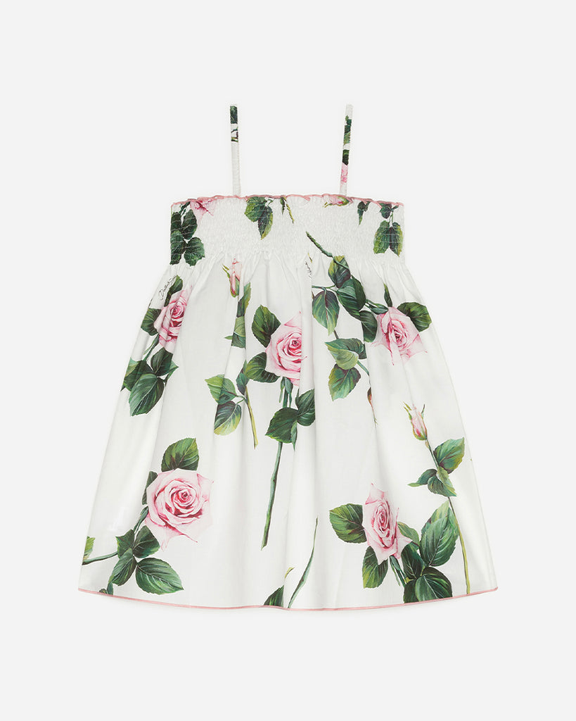 white tank sundress with pink roses print back