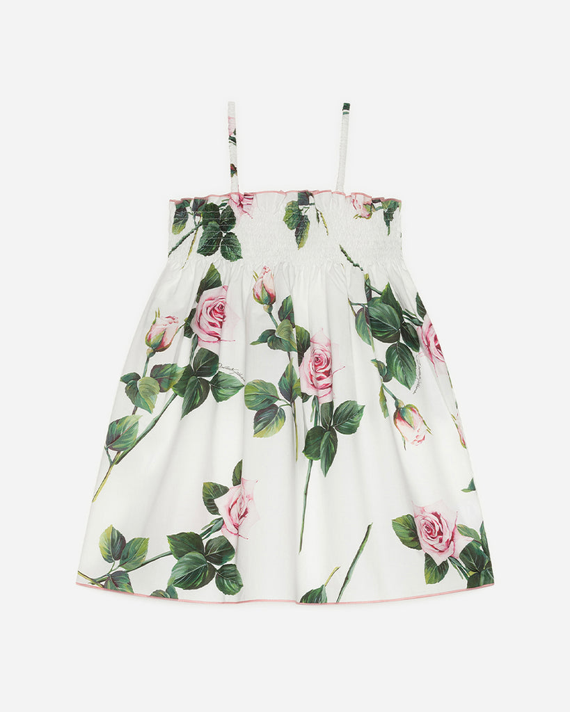 white tank sundress with pink roses print